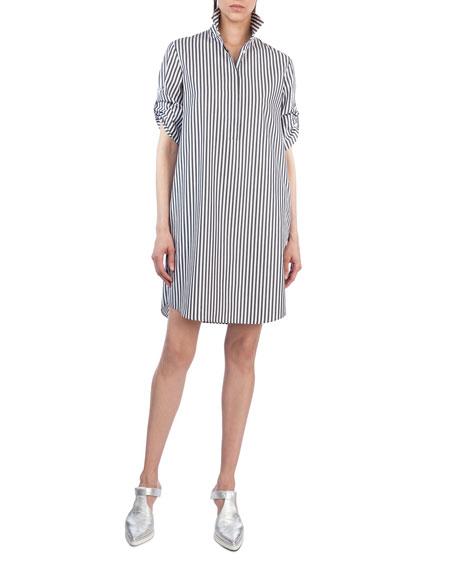 Akris punto Striped Poplin Tunic Shirtdress