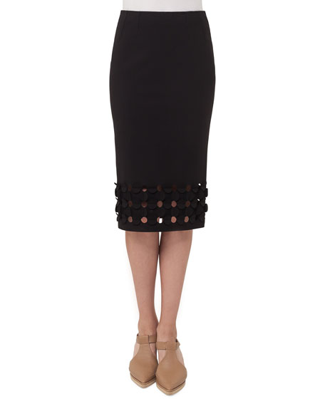 Cutout Punto Dot Pencil Skirt