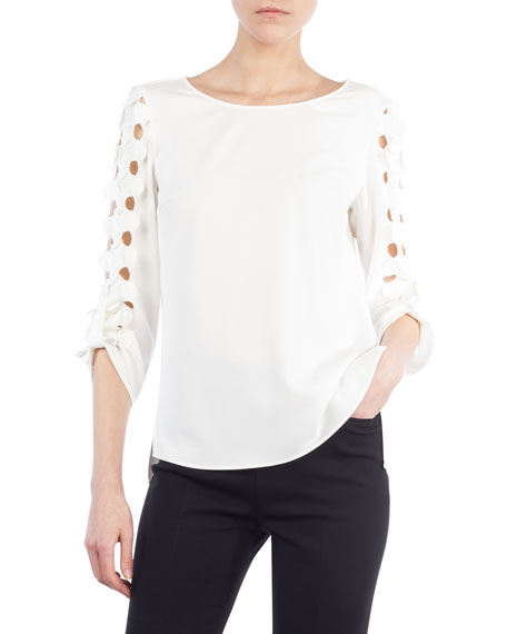 Akris punto Cutout Punto Dot Top