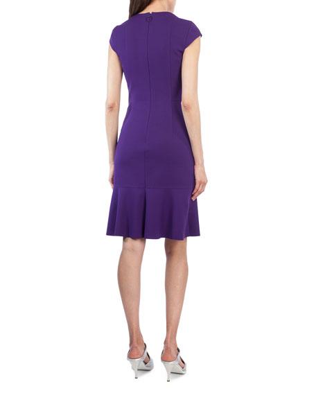 Cutout Cap-Sleeve Jersey Dress