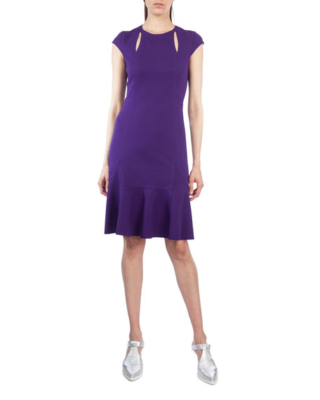 Akris punto Cutout Cap-Sleeve Jersey Dress