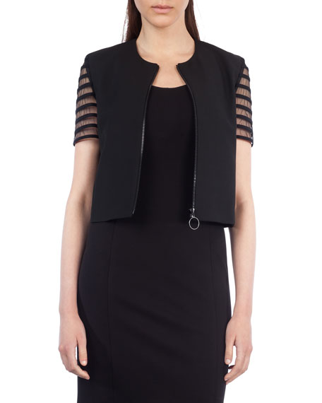 Akris punto Striped Tulle-Sleeve Cropped Jacket and Matching