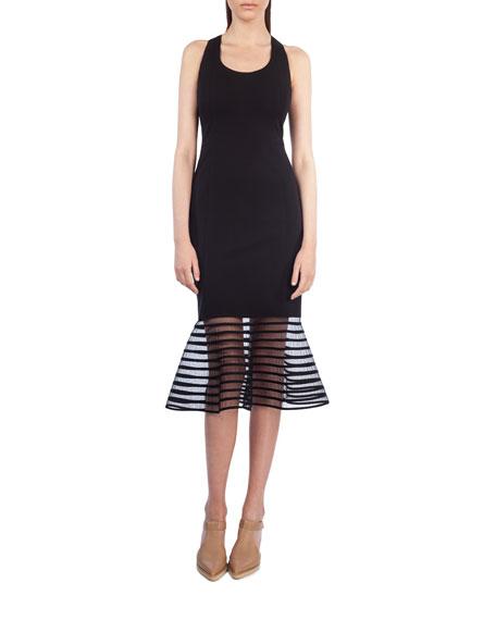 Sleeveless Striped Tulle-Hem Dress