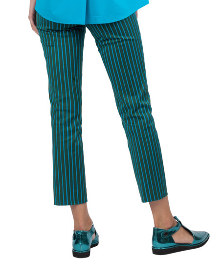 Striped Straight-Leg Cotton-Stretch Pants