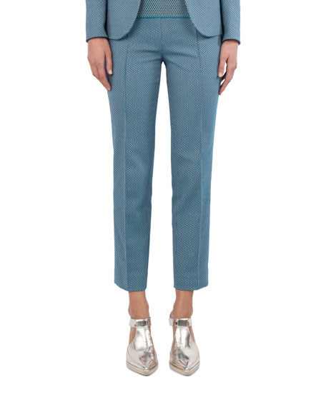 Akris punto Cotton-Stretch Jacquard Woven Straight-Leg Pants and