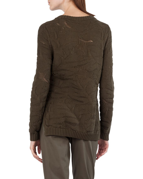 Chunky Leaf Jacquard Sweater
