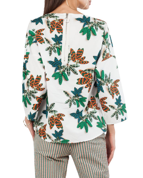 Tropical Leaf-Print Cotton Top