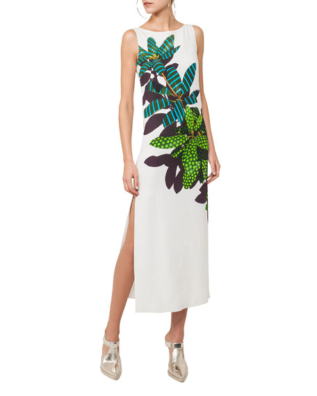 Boat-Neck Sleeveless Maxi Dress with Tropical Leaves Print