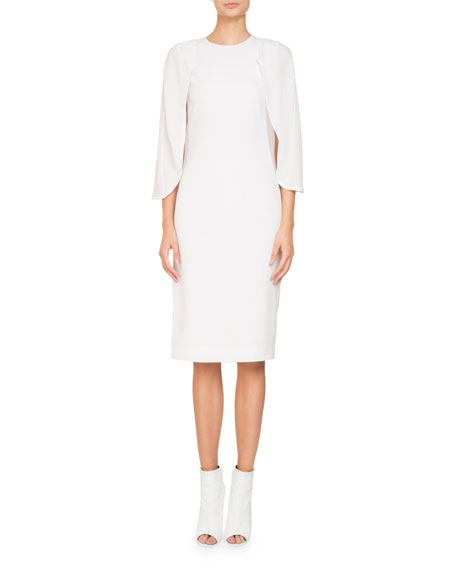 Givenchy Jewel-Neck Cape Sleeve Silk Georgette Cocktail Dress