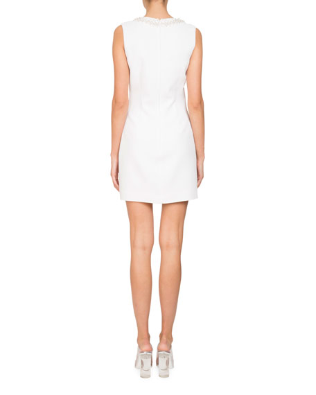 Sleeveless Stretch-Cady Sheath Mini Cocktail Dress w/ Embellishments