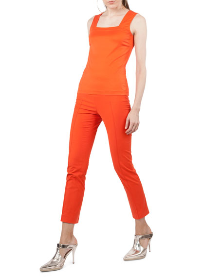 Akris punto Frankie Cotton-Stretch Slim-Leg Pants