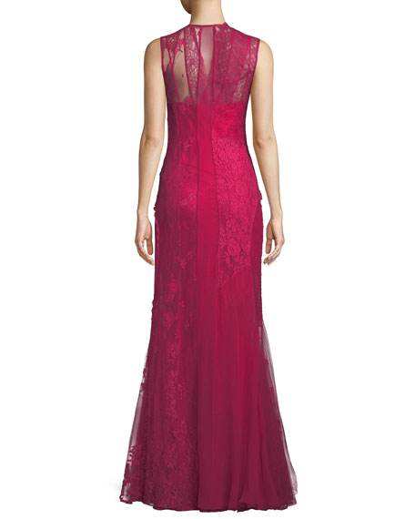 Sleeveless Mock-Neck Double-Layer Mixed Lace Evening Gown