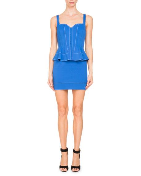 Sleeveless Sweetheart-Neck Peplum Mini Cocktail Dress in Blue