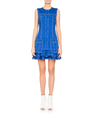 Sleeveless Button-Front Cotton Mini Dress w/ Ruffled Hem