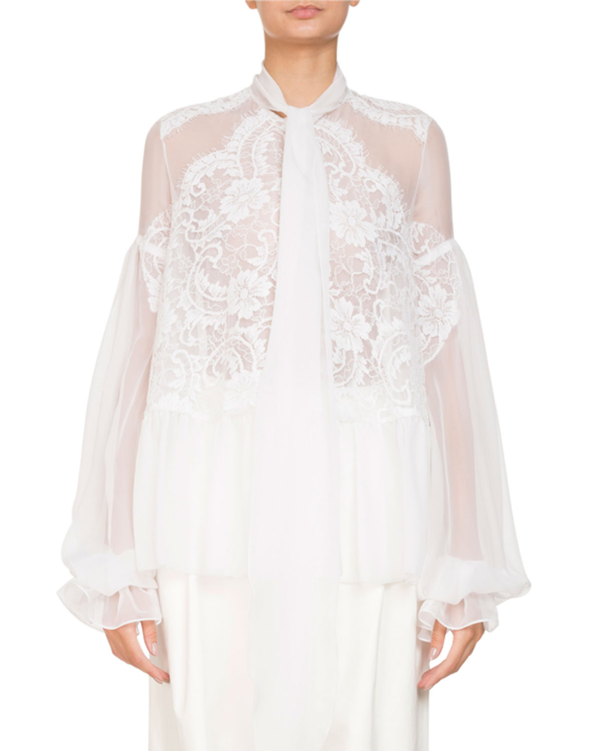 cb6518391ce19 Givenchy Long-Sleeve Flounce-Hem Sheer Silk Georgette Blouse w  Lace ...