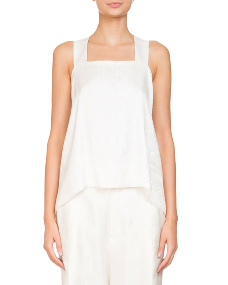 Givenchy Square-Neck Sleeveless Bandana Jacquard Blouse