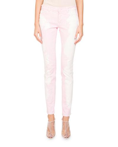 Bleached-Denim Skinny Five-Pocket Jeans
