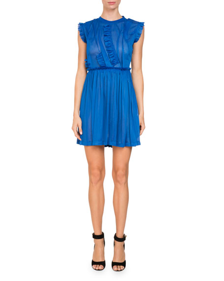 Givenchy Sleeveless Jersey Mesh Faux-Wrap Cocktail Dress