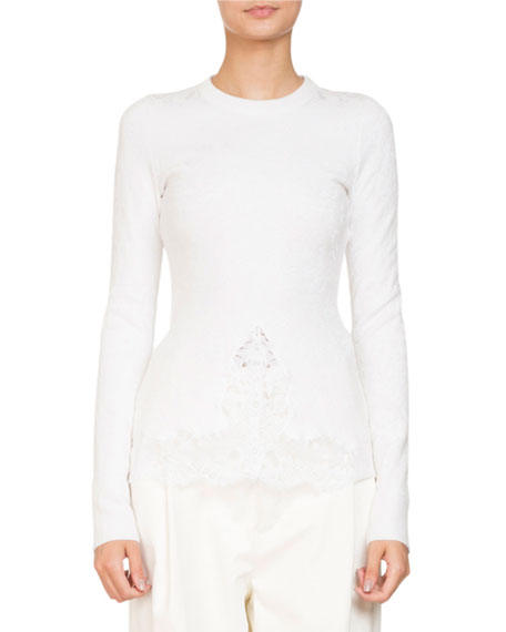 Givenchy Crewneck Long-Sleeve Knit Lace Blouse