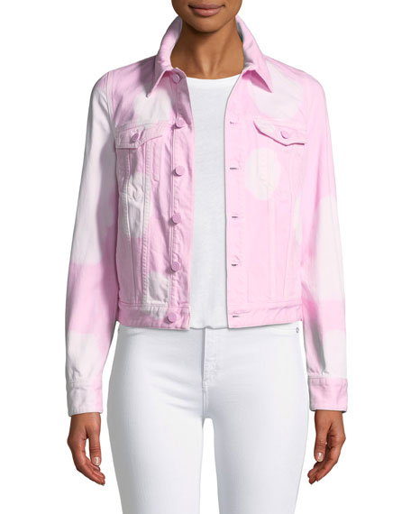 Button-Front Long-Sleeve Bleached Jean Jacket