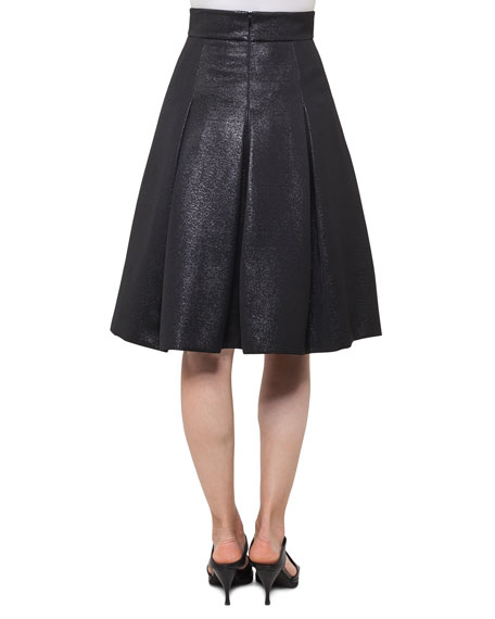 Back-Zip Short Crepe Pencil Skirt