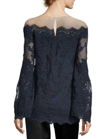 Corded Lace Off-the-Shoulder Illusion Blouse