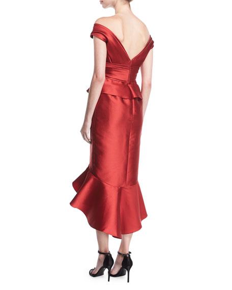 Mikado Off-the-Shoulder Flounce Dress