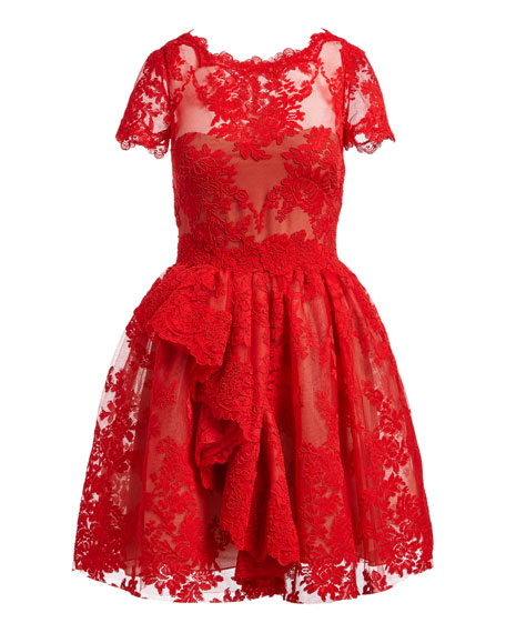 Floral Lace Cap-Sleeve Dress