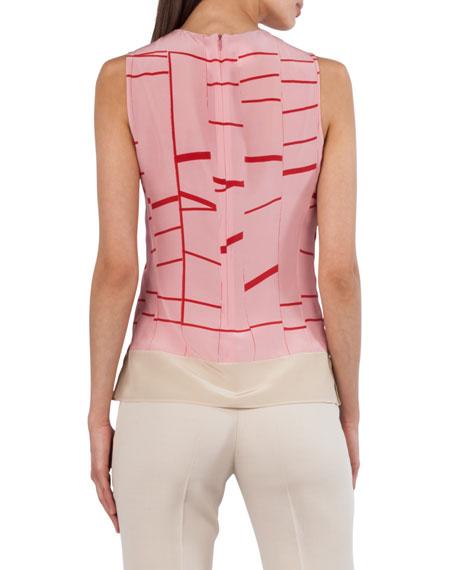Round-Neck Sleeveless Broken-Stripes Silk Blouse