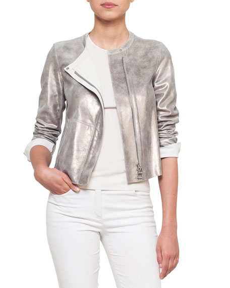 Akris Zip-Front Reversible Napa Leather Jacket