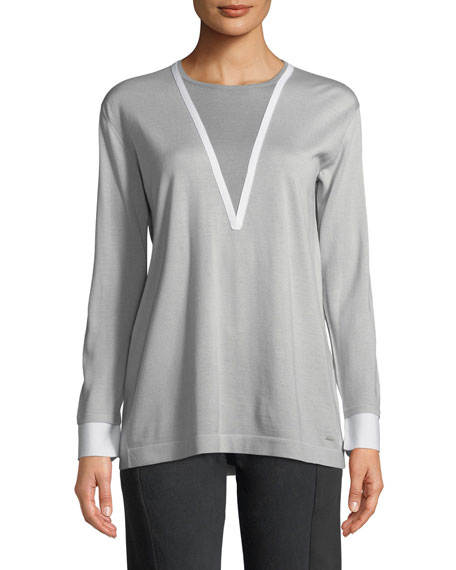 Akris Long-Sleeve Wool-Silk Pullover Knit Sweater