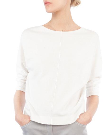 Round-Neck 3/4 Raglan Sleeve Cashmere Pullover Sweater