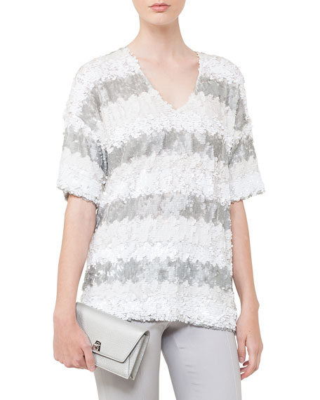 V-Neck Elbow-Sleeve Sequin Stripes Top