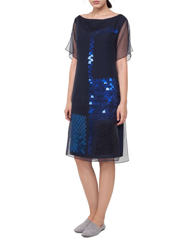 Bateau-Neck Sequined A-Line Dress with Organza Overlay