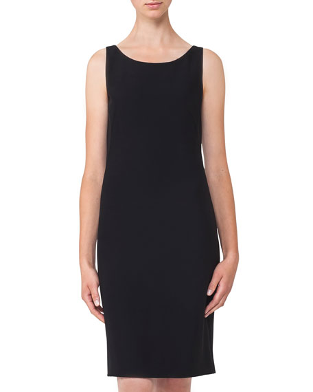 Akris Round-Neck Sleeveless Crepe Sheath Dress