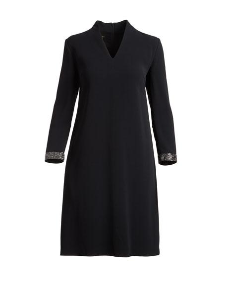 V-Neck Shift Dress with Swarovski Cuffs