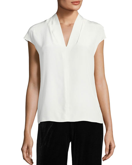 Netal Silk Cap-Sleeve Top