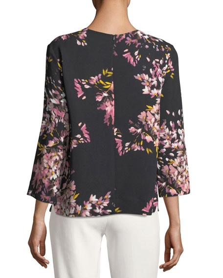V-Neck Long-Sleeve Floral-Print Tunic