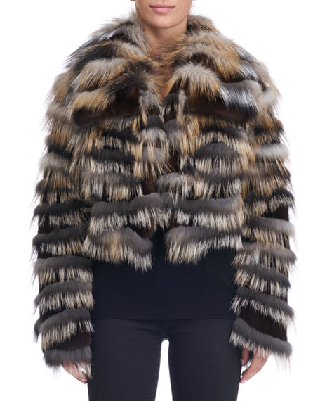 Michael Kors Collection Mink Jacket with Cross Fox