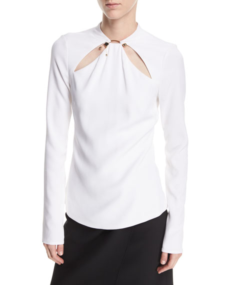Cushnie Et Ochs Cutout Long-Sleeve Top