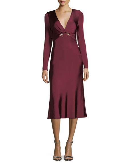 Cushnie Et Ochs Magdelena V-Neck Long-Sleeve Fitted Glossy