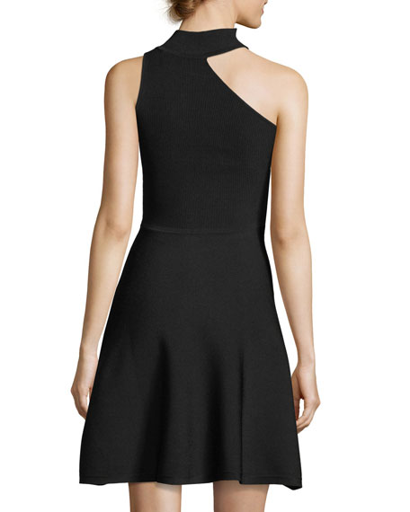 One-Shoulder Mock-Neck Minidress