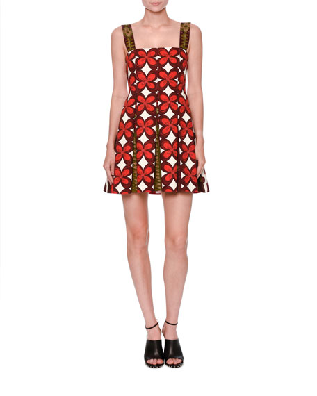 Valentino Cuban-Flower Pleated Sleeveless Dress, Multi