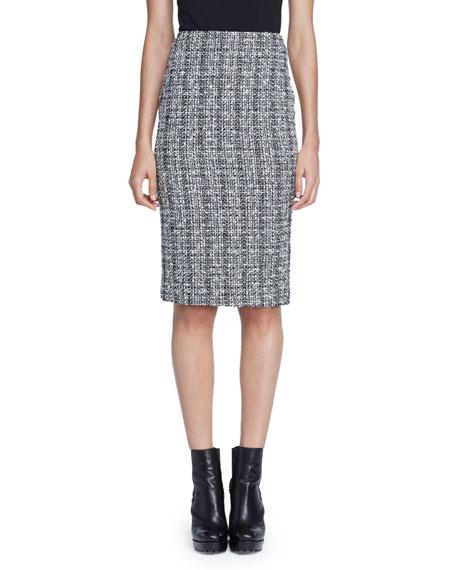 Alexander McQueen Lightweight Tweed Pencil Skirt, Black/White