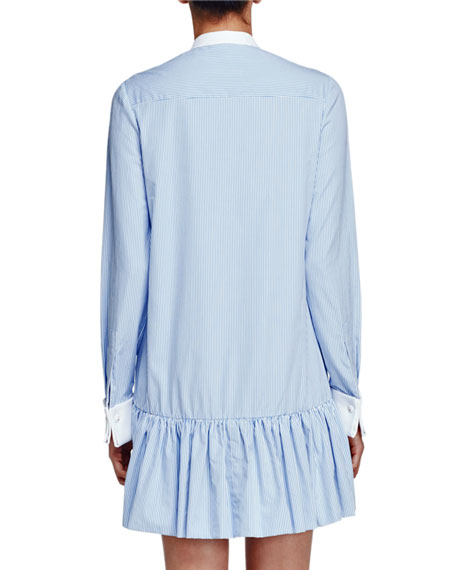 Striped Poplin Drop-Waist Tunic Dress, Light Blue