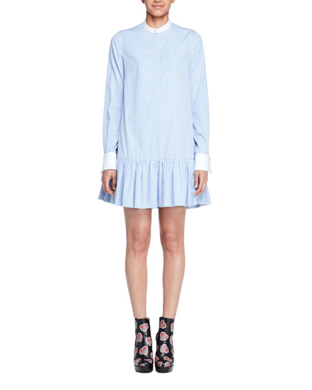 Alexander McQueen Striped Poplin Drop-Waist Tunic Dress, Light