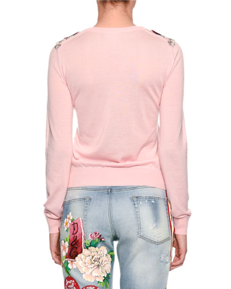 Crewneck Long-Sleeve Cashmere Sweater w/ Rose Applique
