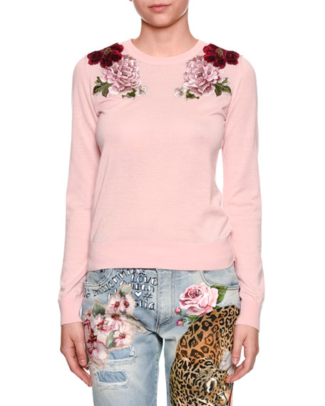 Dolce & Gabbana Crewneck Long-Sleeve Cashmere Sweater w/