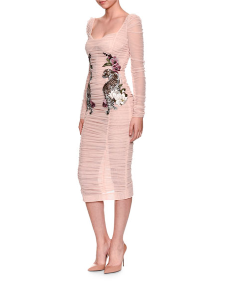 Long-Sleeve Ruched Tulle Cocktail Dress w/ Leopard Rose Applique