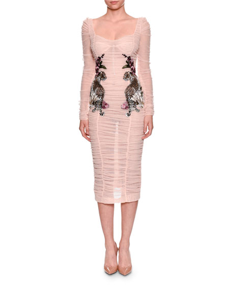 Dolce & Gabbana Long-Sleeve Ruched Tulle Cocktail Dress